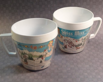 Set of Two Swiss Miss Cocoa Mugs 1970s