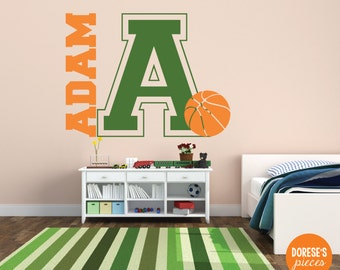 Varsity Monogram with Customized Name and Basketball / and other Sports Designs for your Kid's Bedroom