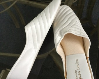 Vintage Jacques Levine Slippers - White - Leather Wedge