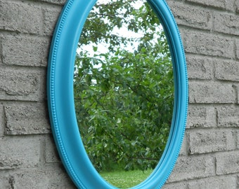Blue frame wall oval mirror. (bathroom mirror, vanity mirror, shabby chic mirror, nursery mirror,)
