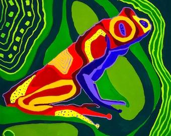 Rainforest Frog Gouache Painting, Multicolor Frog Gouache Painting, Frog Wall Art, Gouache Frog Painting