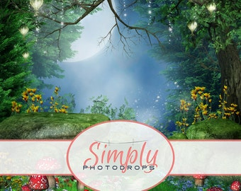 Vinyl Backdrop, ENCHANTED FOREST, Photography Backdrop // Simplyphotodrops Premium Vinyl Backdrops