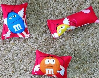Three Catnip Cat Toys M&M Valentine Hearts Red Set