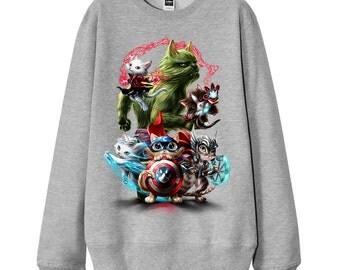 "Men Sweatshirt, Women Sweatshirt, Gift for dad, Gift for him, ""Cat and Kitten Super Hero Warrior"" French Terry Sweater"
