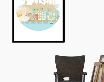 Barcelona in my heart, illustration print