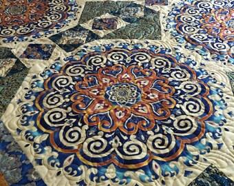 Blue Mandala - Finished Quilt