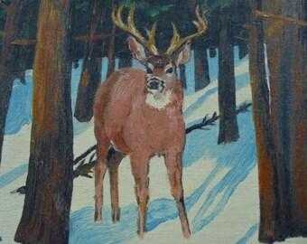 1948 Reindeer in Woodland Oil Painting Signed Original Artwork