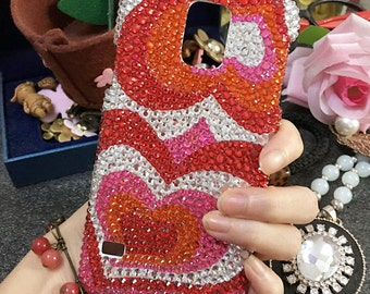 Bling Lovely Girly Pink Gradient Gems Love Heart Sparkly Crystals Rhinestones Diamonds Fashion New Luxury Hard Cover Case for Mobile Phones