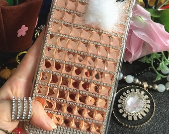 Bling Champagne Gems Sparkly Silver Fox White Fur Crystals Rhinestones Diamonds Fashion Lovely Hard Cover Case for Various Mobile Phones