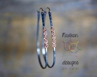 large hoop earrings oxidized silver hoops pink gemstone hoop earrings hand forged with soft pink gemstone