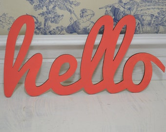 hello – welcome sign – Wooden Letters – Bright and Bold Colours – Wooden Letters for Home and Kitchen – Hand Painted – Love, Laugh, Smile