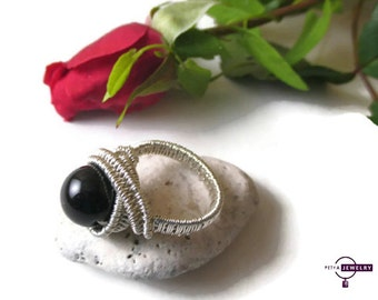 Silver Ring, Sterling Silver 925, Black Onyx Ring, Wire Wrapped Ring, Gemstone Ring, handmade ring, gift for her, wire wrapped jewelry