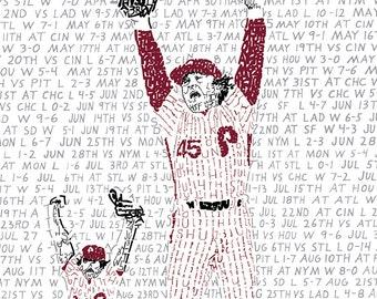 "Philadelphia Phillies 1980 Word Art - FREE Shipping - 16""x20"" - Phillies Art - Philadelphia Art Print- Phillies Gift - Phillies Baseball"