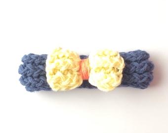 Knit headband, bow headband, blue and yellow headband, baby headband