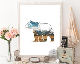 Bear - animal print, modern print, modern art, home wall art, home decor, office decor, bear illustration, office print, wall art, gift