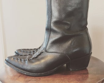 Vintage black ankle boots/ankle booties/zip up boots/7.5