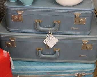 Two Vintage Blue Suitcases****Read Lisitng Before Purchasing