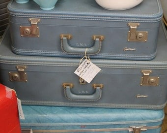 Three Vintage Blue Suitcases****Read Lisitng Before Purchasing