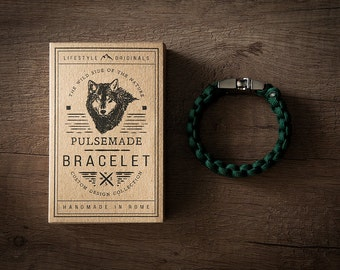 Men's bracelet-emerald green woman unisex in Paracord 550-Pulsemade Classic Collection-Handmade paracord mens bracelet-Womens emerald green