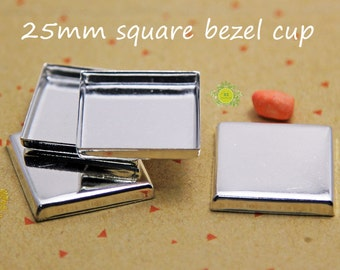 1 inch Square Bezel Cups-25mm Square Bezel Setting-Pendant Trays for 25mm Cabochon-Square DEEP Bezel Cup-3mm depth-NO connector-Choose Qty