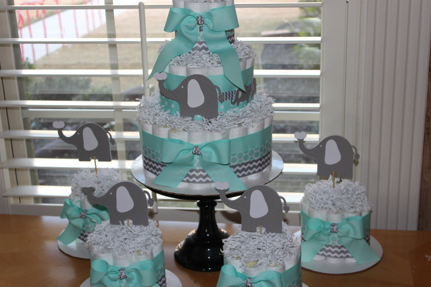 Elephant diaper cake bundle mint gray elephant theme diaper - Baby shower chevron decorations ...