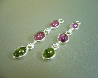 Watermelon Tourmaline 925 Sterling Silver Earring Findings Connectors Set of 2