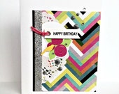 Modern Birthday Card, Multicolor Chevrons, Scrapbook Papers, For Teen, Adult, Friend, Woman, Wife, Aunt, Grandmother, Mother, Coworker, Boss