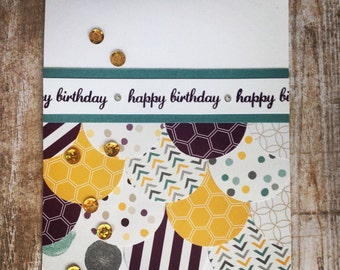 Stamped card, happy birthday, eggplant purple, teal blue, honey yellow, gold sequins, birthday card, greeting card, handmade card
