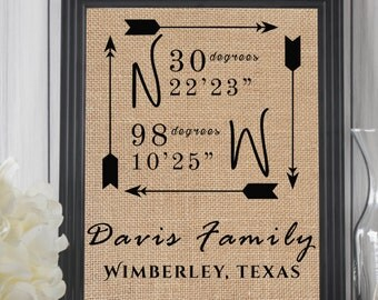 Latitude Longitude Sign | House Warming Gift | Personalized Wedding Gift | GPS Coordinates