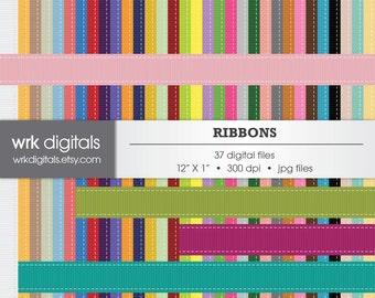Ribbon Clip Art Digital Pack, Digital Scrapbooking, Instant Download