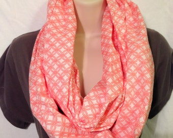 Coral and White Infinity Scarf