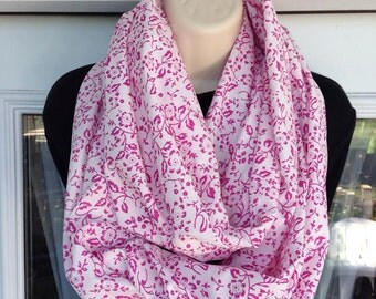 White and Pink Infinity Scarf