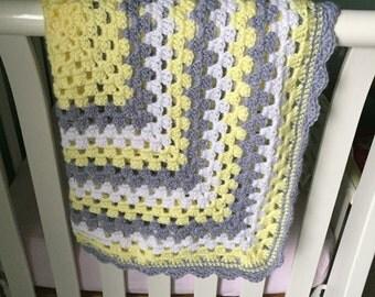 Baby Blanket - Crochet, Handmade, Striped, Gender Neutral (yellow, grey, and white)