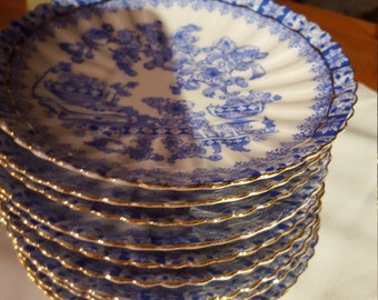 Tuppack  dishes china bleu and white Gold rim one is mark Rosslau, marked Tuppack Tiefenfurk Porcilain S bLUE and white (10) saucers