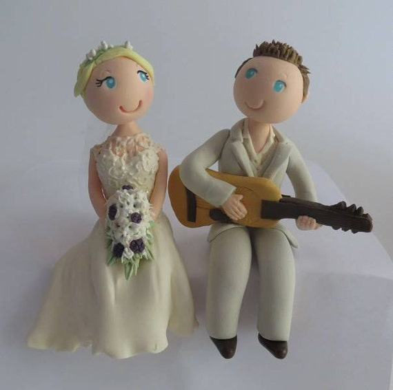 wedding cake topper groom playing guitar customised cake topper with groom guitar 26331