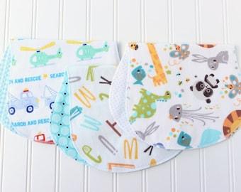 Baby Boy Burp Cloths - Set of 3 - Baby Shower Gift - Baby Gift