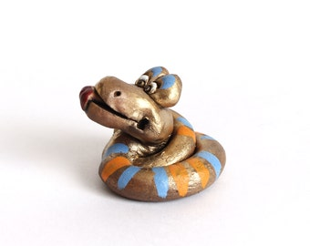 Small snake clay figurine, Custom snake Sculpture, Snake ceramic sculpture from clay, miniature animal totem