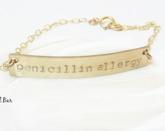 Medical Alert Bracelet, Medical ID Bracelet Personalized Medical Jewelry Allergy Diabetes Bracelet Kids Women Gold Rose Gold Sterling Silver