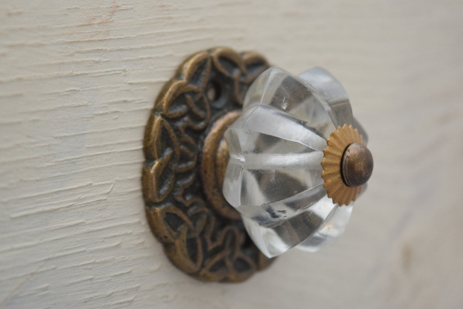 Scalloped Glass Drawer Knobs On Brass Back Plate Cabinet Door