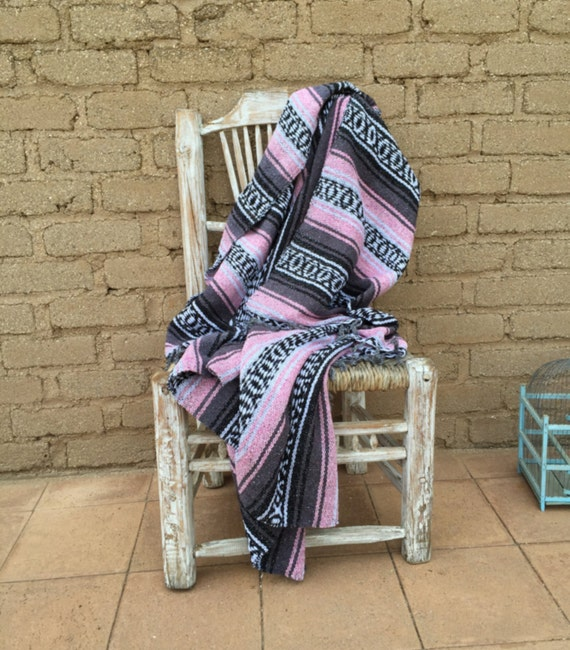 Mexican Blanket Light Pink Soft Warm Cozy By Rustichacienda