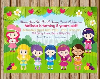 """Strawberry Shortcake Birthday Invitations- Strawberry Shortcake Party- Strawberry Shortcake Invitations - 5"""" x 7"""" size- Digital Item"""