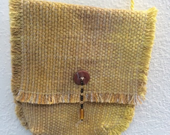 Hand-dyed, handwoven little bag in yellow and brown - FB1
