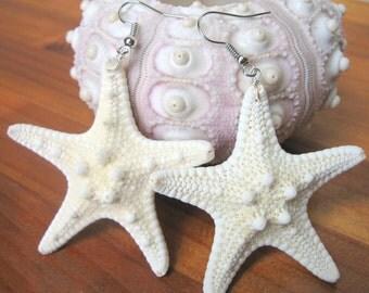 Starfish Earrings, Starfish Dangle Earrings, White Starfish Earrings, Starfish Jewelry, Beach Wedding, Beach Jewelry, Beach Earrings