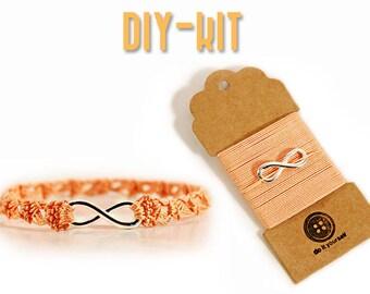 Jewelry DIY Kit - DIY bracelet - diy kit - DIY gift - crochet Kit - infinity charm - crochet jewelry - diy christmas gift - MudenoMade