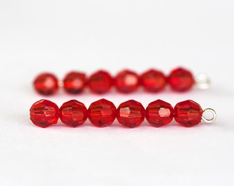 1389_Plastic beads 6 mm, Round red beads, Transparent beads for jewelry, Acrylic faceted beads, Round beads, Faceted roundels, Beads supply.