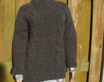 grey rustic Irish aran hand knit jumper