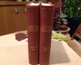 2 National Geographic Magazine Bound Volumes 43 & 44 *Complete Year 1923*