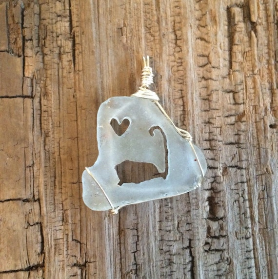 Clear Cape Cod Outline & Heart Sea Glass Necklace By