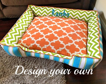 Fun and Cozy Custom Dog Beds - Name embroidery free, choose your own fabric, washable dog bed, dog beds, orange dog bed, modern dog bed
