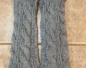 Clearance!! Silver hand knitted fingerless gloves/arm warmers.